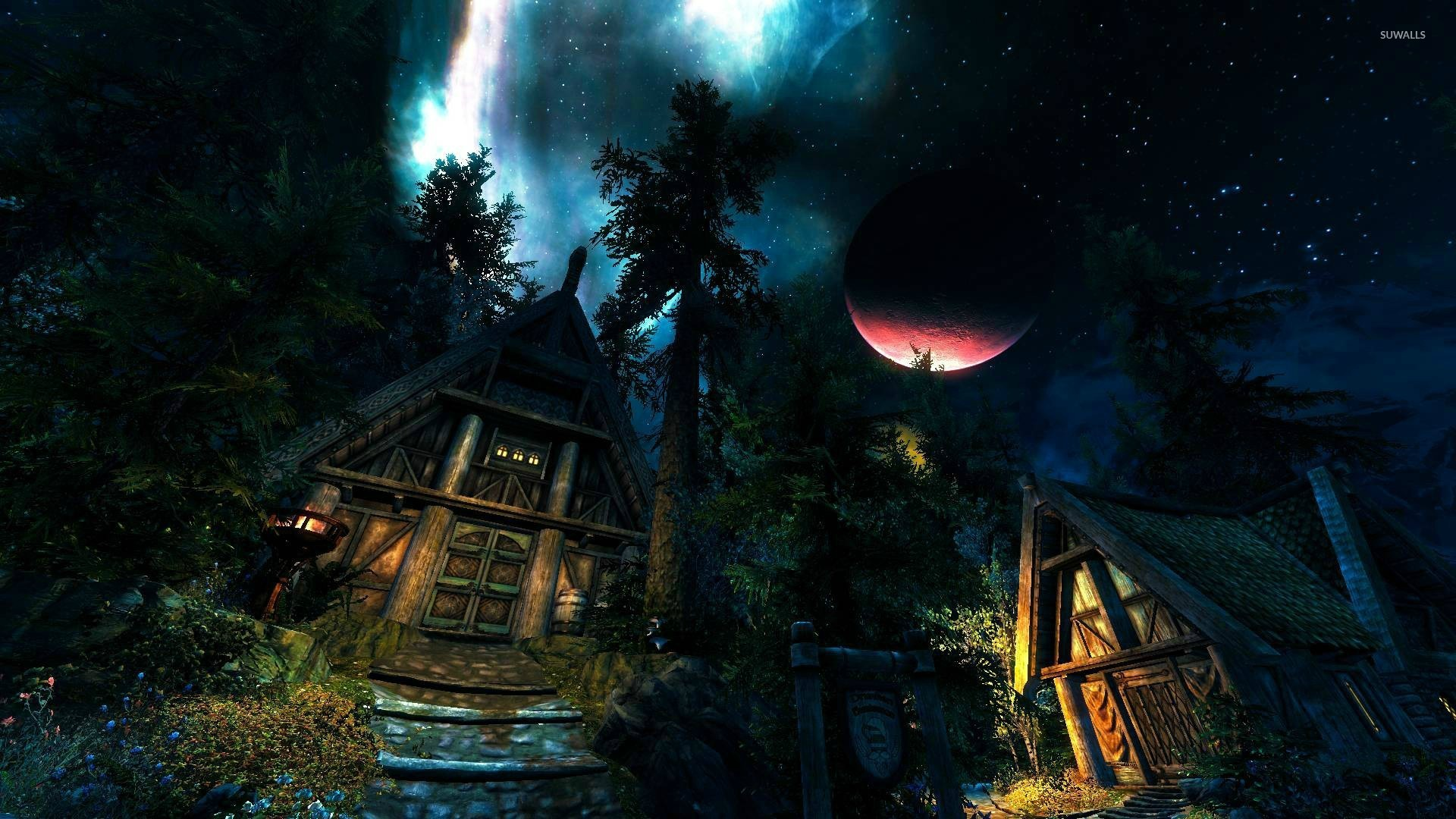 Hut in the forest in The Elder Scrolls V: Skyrim wallpaper