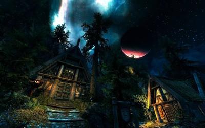 Hut in the forest in The Elder Scrolls V: Skyrim wallpaper