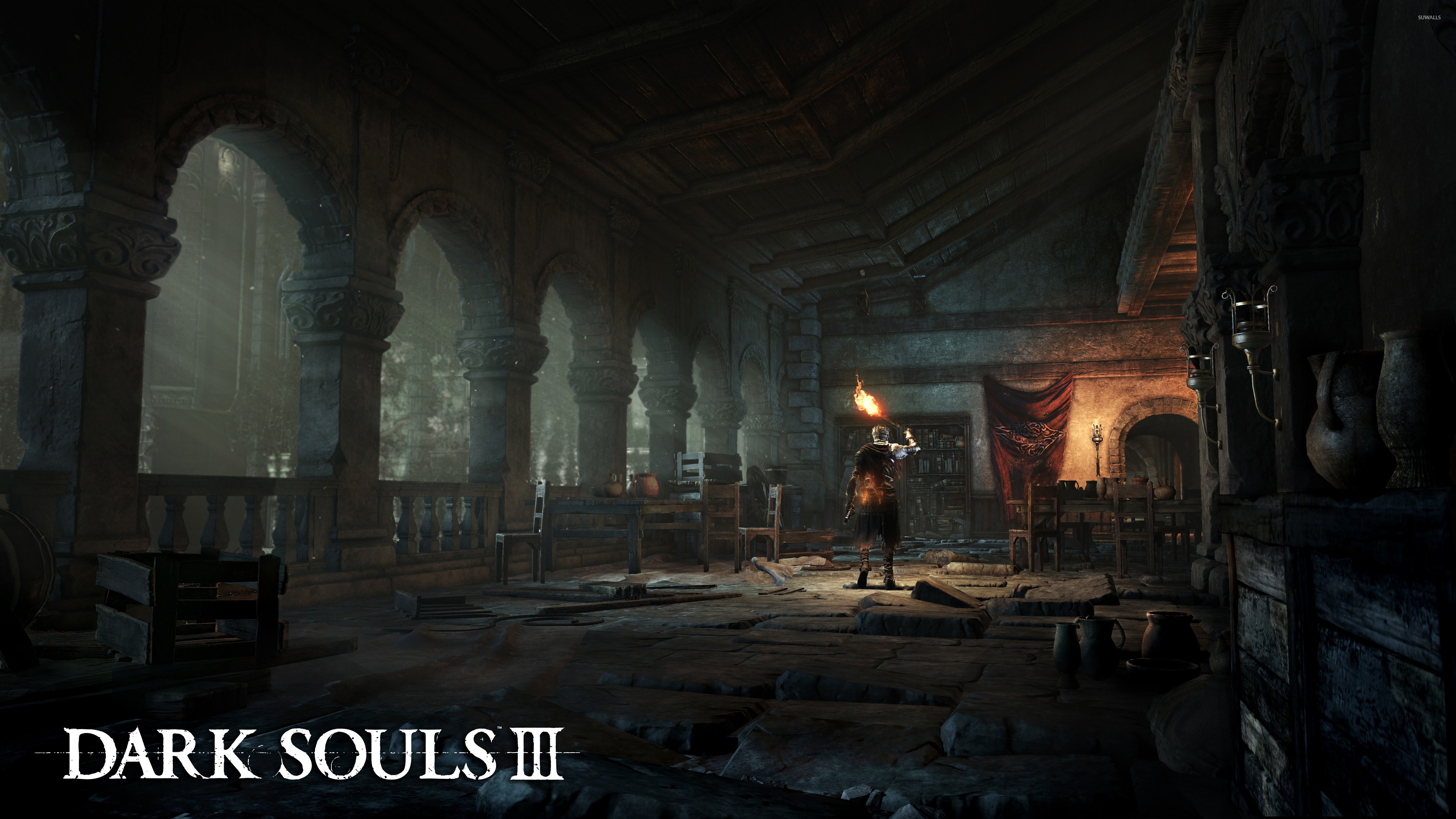 Knight in an empty room in dark souls iii wallpaper game for Black room wallpaper