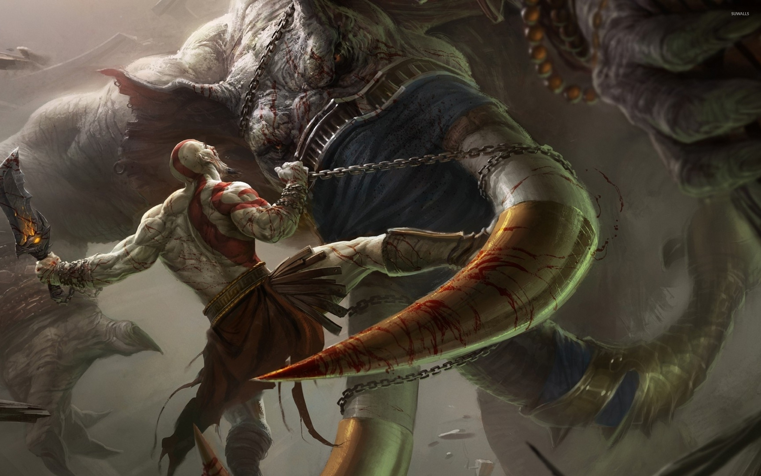 Kratos fighting with a beast god of war ascension wallpaper kratos fighting with a beast god of war ascension wallpaper voltagebd Image collections