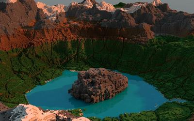 Lake surrounded by mountains in Minecraft wallpaper