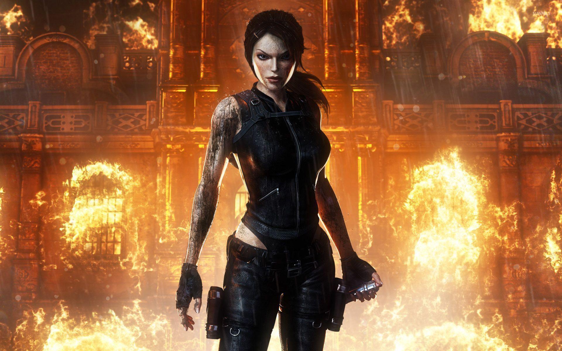 Lara Croft Exiting A Burning Building Tomb Raider