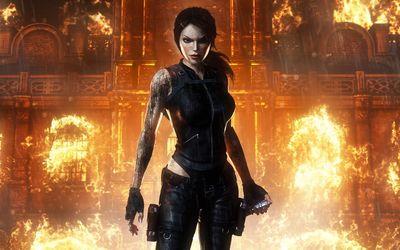 Lara Croft exiting a burning building - Tomb Raider wallpaper