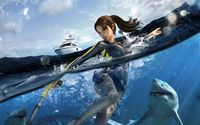 Lara Croft surrounded by sharks in Tomb Raider wallpaper 1920x1200 jpg