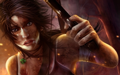 Lara Croft surviving a battle wallpaper