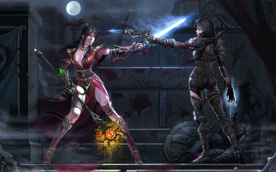 Magical female characters in Diablo III wallpaper