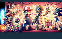 Mario and friends on Christmas Eve wallpaper 1920x1200 jpg