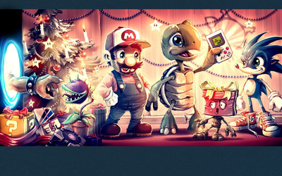 Mario and friends on Christmas Eve wallpaper