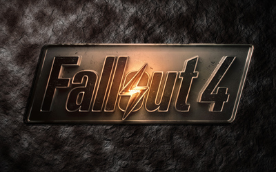 Metallic Fallout 4 logo on stone wallpaper