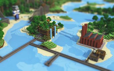 Minecraft cityscape Wallpaper