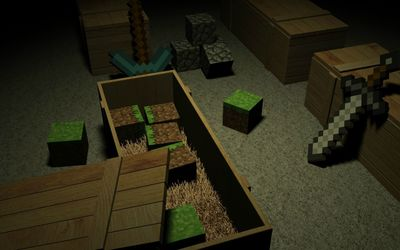 Minecraft crates wallpaper