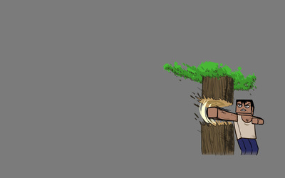 Minecraft tree punching wallpaper