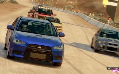 Mitsubishi cars during a race in Forza Horizon wallpaper