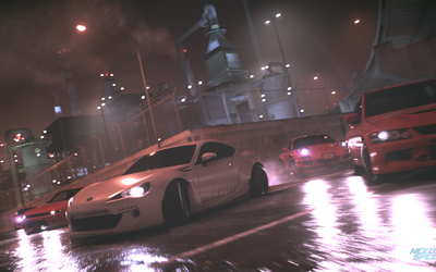 Race on the wet roads in Need for Speed wallpaper