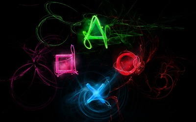 Neon PlayStation buttons wallpaper