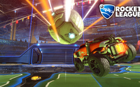 Orange car heading for a goal in Rocket League wallpaper 1920x1080 jpg