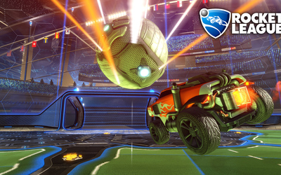 Orange car heading for a goal in Rocket League wallpaper