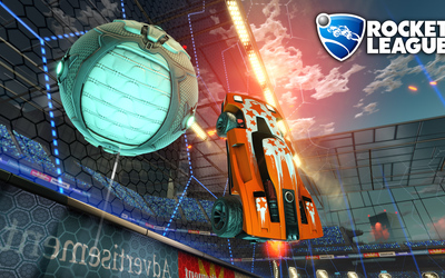 Orange car in the air in Rocket League wallpaper