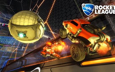 Orange cars flying in Rocket League Wallpaper