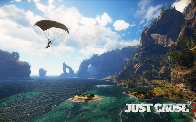 Parachuting over the sea - Just Cause 3 Wallpaper