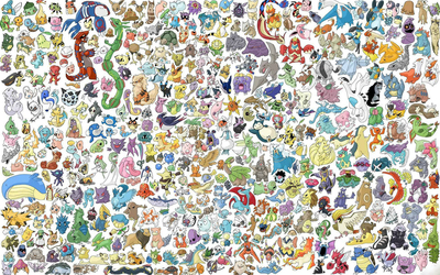 Pokemon characters gathering wallpaper