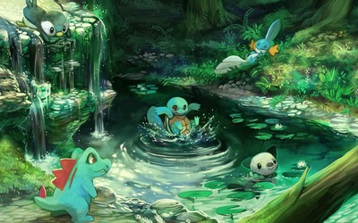 Pokemon characters in the forest wallpaper