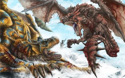 Rathalos vs Rathian - Monster Hunter Tri wallpaper