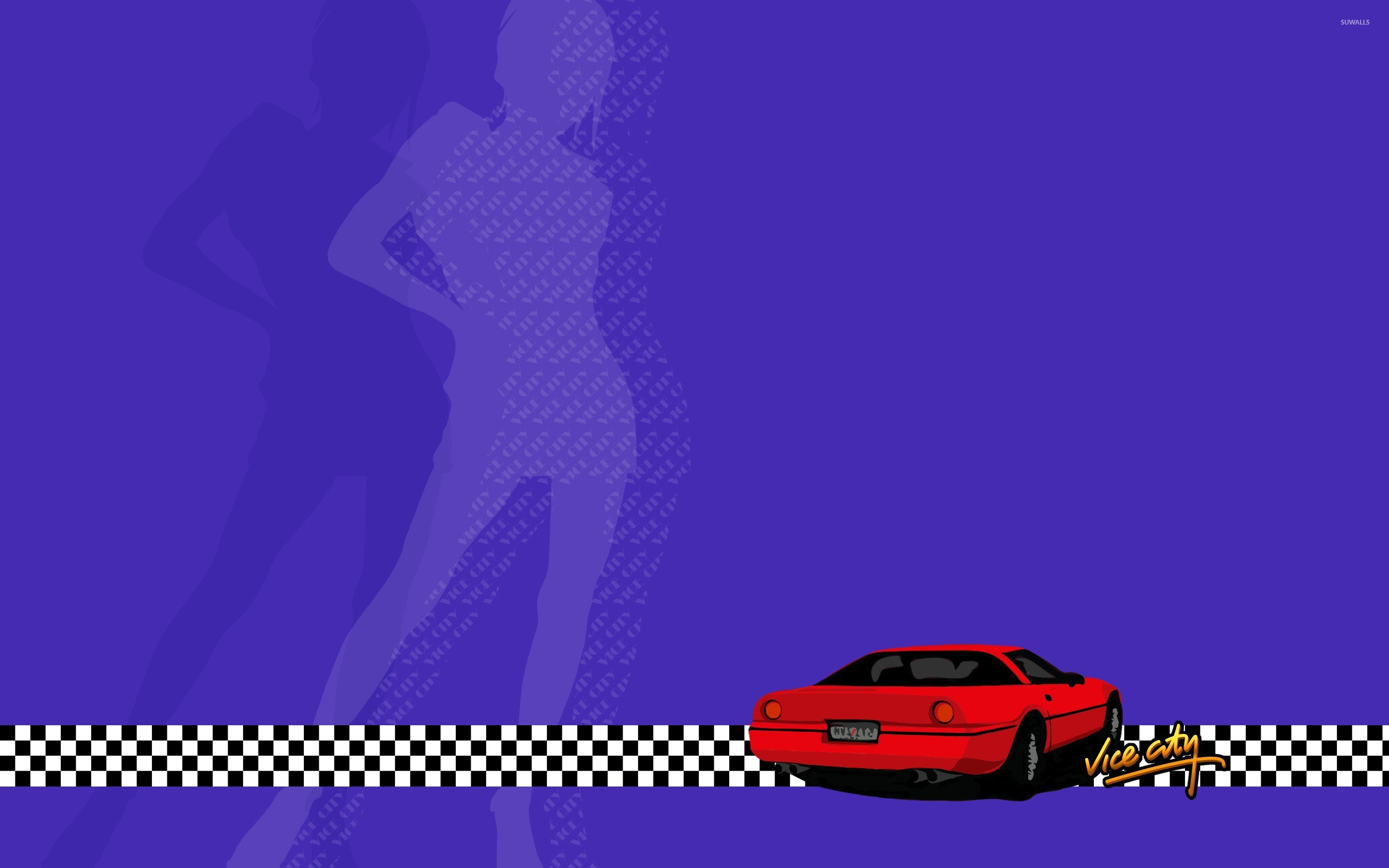 Red Car In Grand Theft Auto Vice City Wallpaper Game Wallpapers