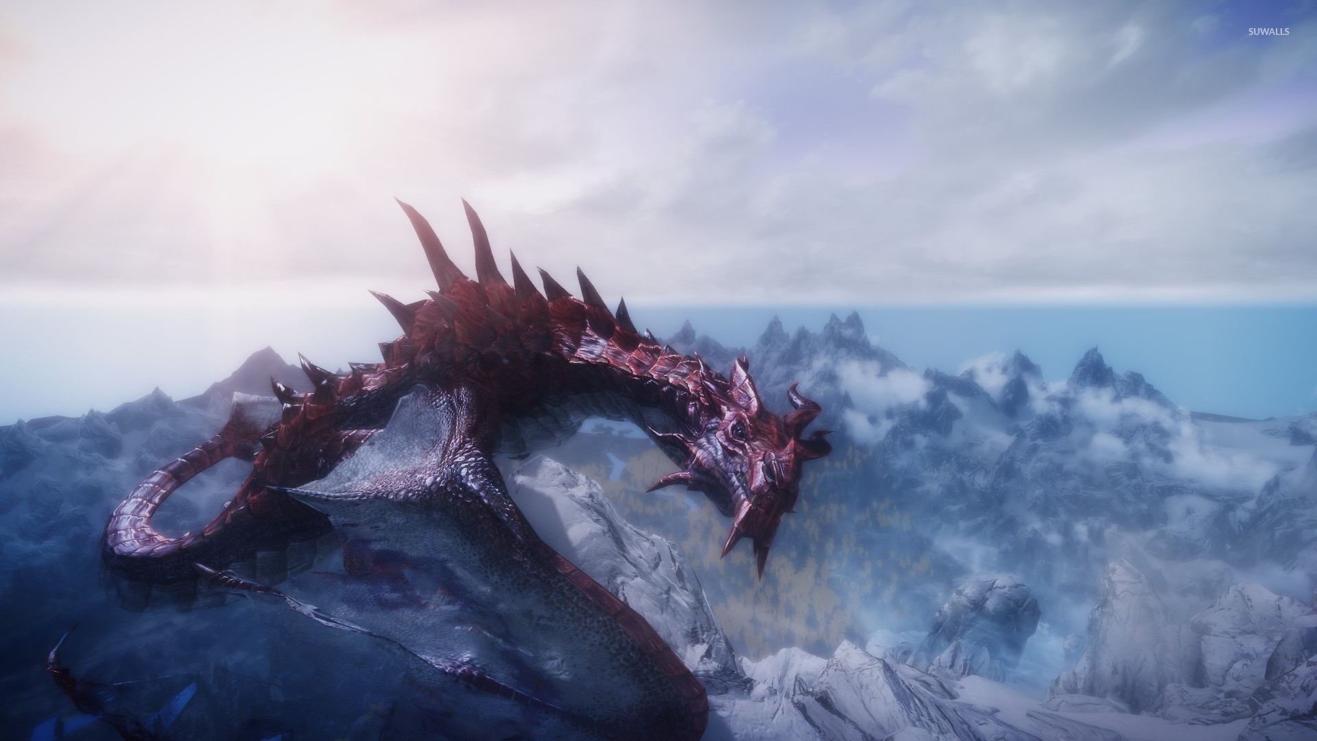 Red Dragon In The Elder Scrolls V Skyrim Wallpaper Game