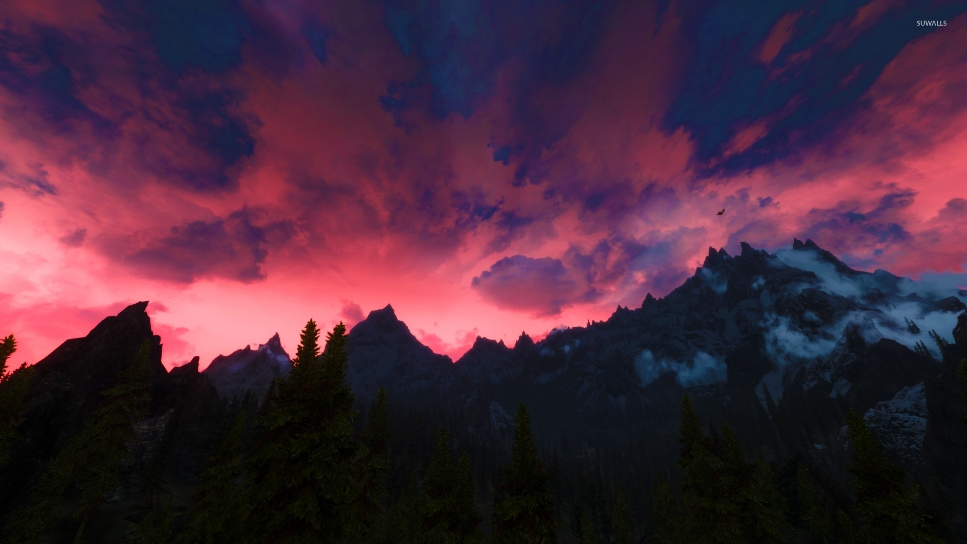 Red Sky In The Elder Scrolls V Skyrim Wallpaper