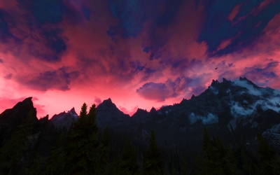 Red sky in The Elder Scrolls V: Skyrim wallpaper