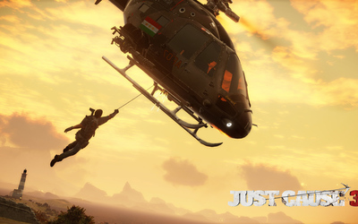 Rico Rodriguez hanging from a helicopter - Just Cause 3 wallpaper