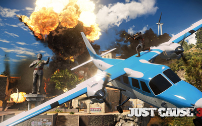 Rico Rodriguez on a small plane - Just Cause 3 Wallpaper