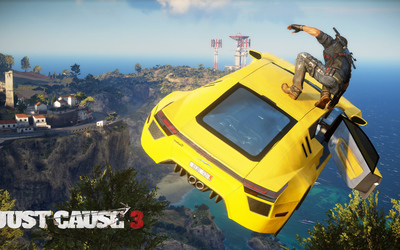Rico Rodriguez on the top of a car - Just Cause 3 wallpaper