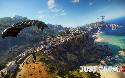 Rico Rodriguez parachuting over the coast - Just Cause 3 wallpaper