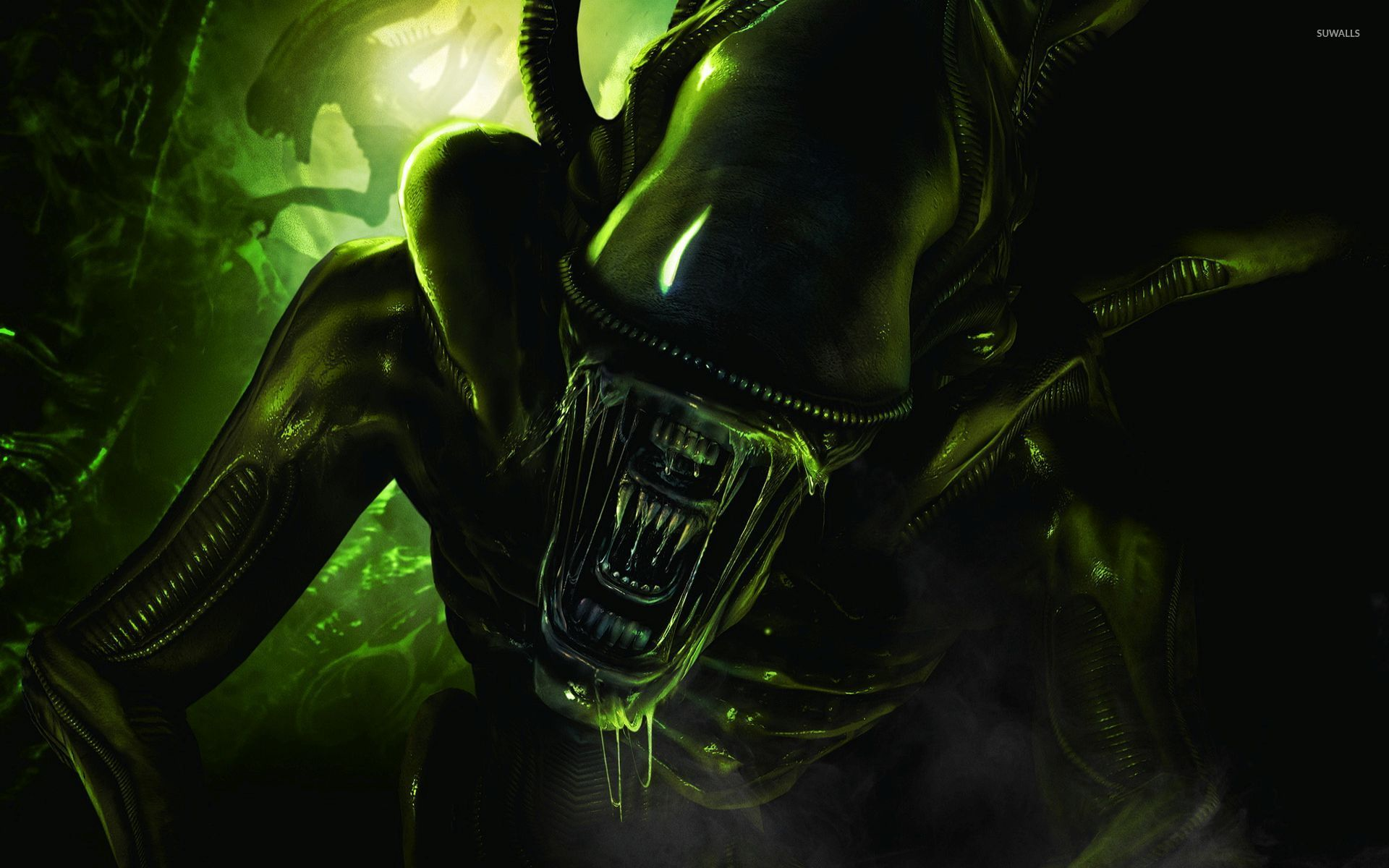 Scary Green Alien Wallpaper