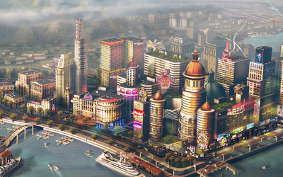 SimCity harbor near casinos wallpaper
