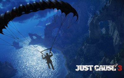Skydiving over the rocky coast - Just Cause 3 Wallpaper
