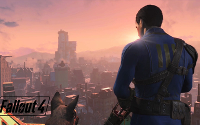 Sole Survivor looking over the city in Fallout 4 wallpaper