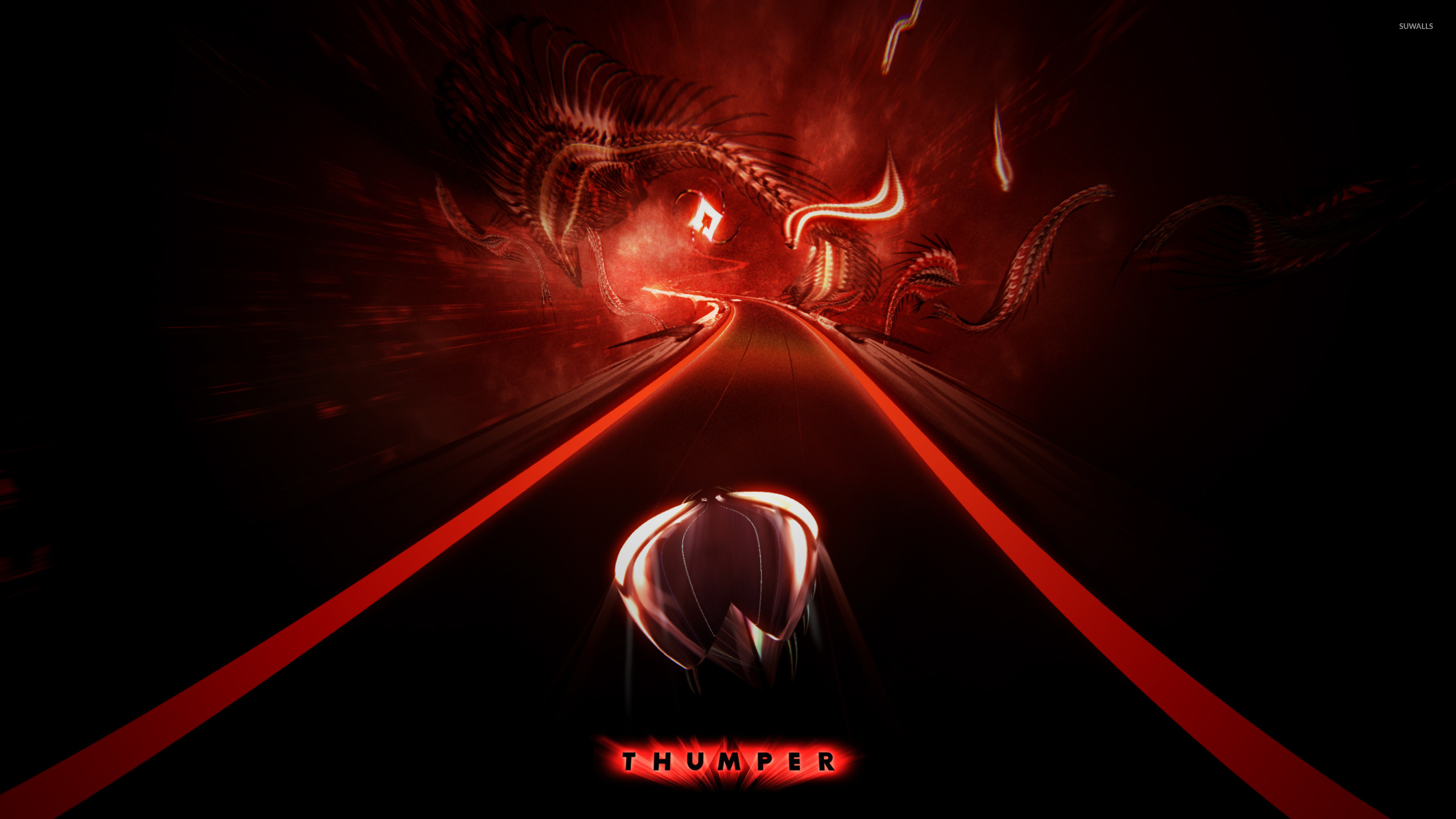 Space beetle speeding on the red road in thumper wallpaper game space beetle speeding on the red road in thumper wallpaper voltagebd Image collections