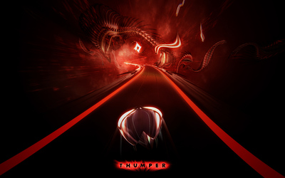 Space beetle speeding on the red road in Thumper wallpaper