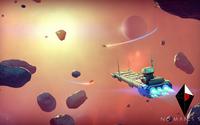 Spaceship avoiding asteroids in No Man's Sky wallpaper 1920x1080 jpg