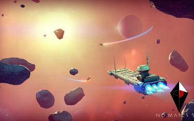 Spaceship avoiding asteroids in No Man's Sky wallpaper