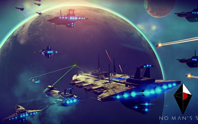 Spaceships heading to the planet in No Man's Sky wallpaper