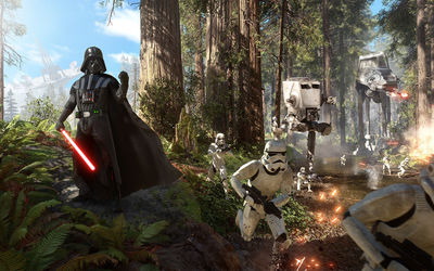 Darth Vader and Stormtroopers in Star Wars: Battlefront wallpaper