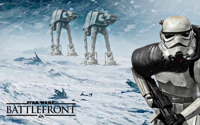 Stormtrooper and AT-ATs in Star Wars Battlefront wallpaper