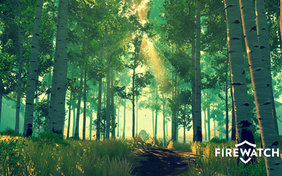 Sun rays in the green forest in Firewatch wallpaper