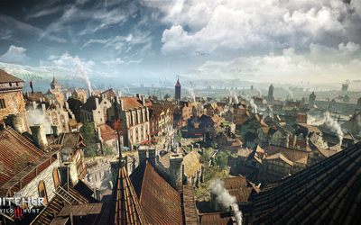 Sunny town in The Witcher 3: Wild Hunt wallpaper