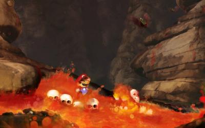 Super Mario in lava wallpaper