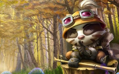 Teemo with a bamboo stick in League of Legends wallpaper